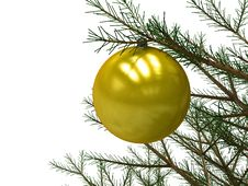 Free Yellow Christmas Toy Attached To A Tree Branch Stock Photo - 17564430