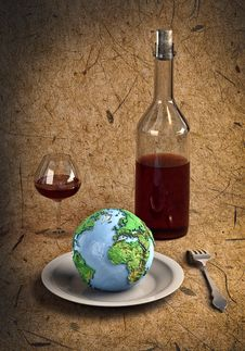 Free Cutlery&Earth Stock Image - 17564861