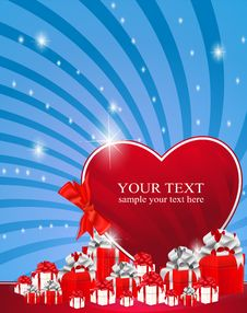 Red Heart Next To The Gift Boxes Decorated Royalty Free Stock Image