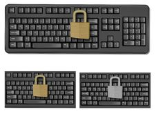Set With Keyboards With Padlock. Stock Images