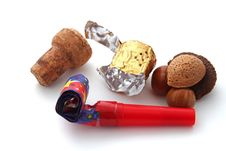 Free Champagne Cork, Foil, Blower And Nuts Royalty Free Stock Images - 17567179