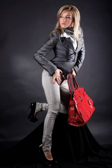 Free Woman With Red Bag Stock Images - 17568744