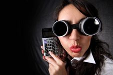 Woman With Calculator Royalty Free Stock Photos