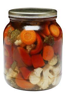 Free Glass Jar Of Carrot, Peper, And Cauliflower Mix. Stock Photos - 17569533