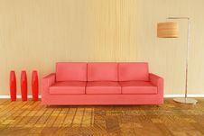 3d Red Sofa Stock Photography