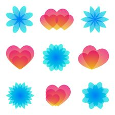 Free Watercolor Flowers And Hearts. Stock Photos - 17569823