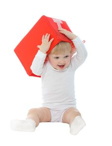 Free Baby With Red Box Isolated On White Royalty Free Stock Photography - 17569847