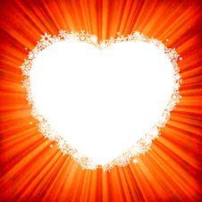 Heart Framr On Golden Light Burst. EPS 8 Royalty Free Stock Photo