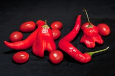 Free Red Hot Chilli Peppers And Cherry Tomatoes Royalty Free Stock Photography - 17571057