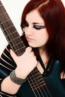 Free Teen With 5 String Bass Guitar Stock Photos - 17571483