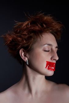 Free The Red Girl With Closed Eyes Stock Images - 17572324