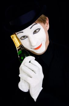 Portrait Of A Dreaming Mime Stock Photos