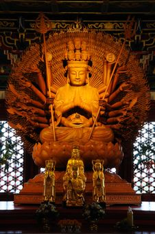 Thousand Hands Wooden Buddha, Leng Nei Yee Temple Stock Image