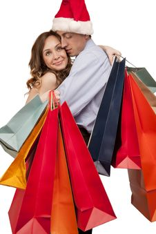 Free Lovely Couple Making Christmas Shopping Stock Image - 17573471