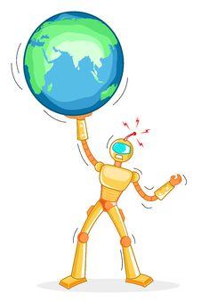 Free Robot Holding Globe Royalty Free Stock Photo - 17573485