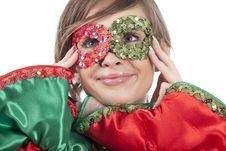 Girl With Colorful Mask Stock Image