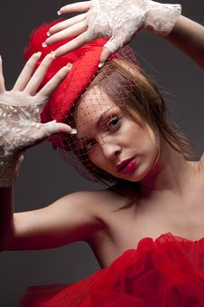 Free Sexy Woman In Red Hat With Net Veil Royalty Free Stock Photo - 17573495