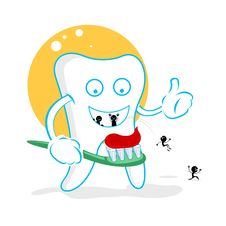 Happy Dent With Germs Royalty Free Stock Images