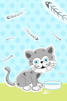 Cat With Fish Bones Stock Images