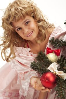 Free Pretty Girl Stand Near A Christmas Tree Royalty Free Stock Photo - 17573505