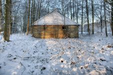 Old Barn In Winter Woods Stock Photography