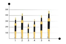 Business Graph With Pens Royalty Free Stock Images