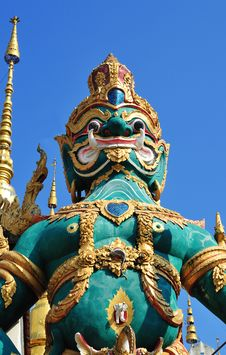 Free Green Giant In Thai Temple,north Of Thailand Stock Image - 17574321