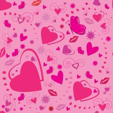 Free Valentines Seamless Pattern With Hearts Stock Photo - 17574700