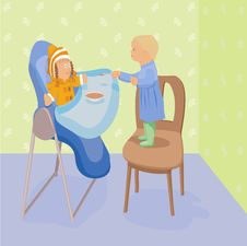 Child Feeds A Doll In Highchair Stock Image