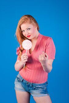 Beautiful Retro Pin Up Girl With Big Lollipop Stock Image