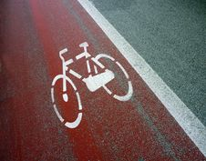 Bicycle Sign Painted On Road Royalty Free Stock Photo