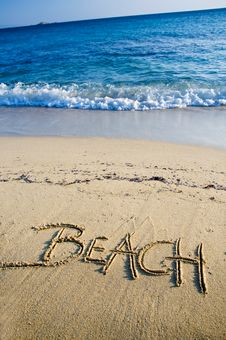 Free Beach Written On The Sand Royalty Free Stock Photo - 17579265