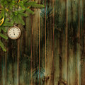 Free Card For The Holiday With Branches And Clock Stock Images - 17580204