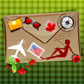Free Travelling Icons On Envelope Royalty Free Stock Photos - 17584558