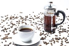 Free Cup Of Coffee With Beans Stock Images - 17580154