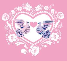 Free Pink Background With Hearts And Pigeons Stock Photography - 17580282