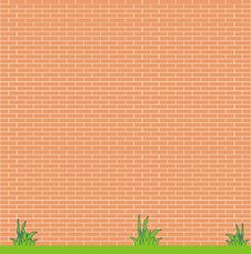 Free Red Brick Wall And Grass Royalty Free Stock Photography - 17581327