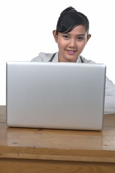 Doctor And Laptop Royalty Free Stock Images