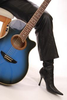 Free Blue Guitar And High Heeled Boot Stock Photos - 17583883