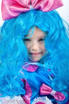 Free Little Girl  With Blue Hair Close-up Stock Images - 17584174