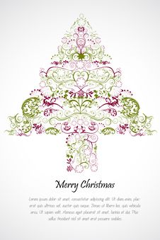 Free Floral Merry Christmas Card Royalty Free Stock Photos - 17584638