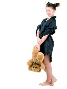 Girl Holding Teddy Bear Stock Image