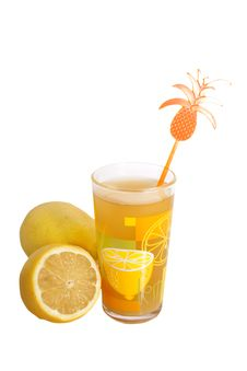 Free Glass With Juice And Lemons Royalty Free Stock Photo - 17585935