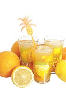 Free Three Glasses With Citrus Juice Stock Photo - 17585990