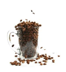 Full Cup Of Coffee Beans Stock Photo
