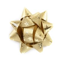 Free Golden Star Made From Decorative Ribbon Stock Images - 17586184