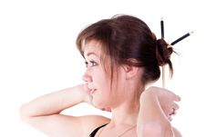 Free Beautiful Young Girl Adjusting Her Hairstyle Stock Photos - 17586693