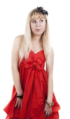 Free The Blonde In A Red Dress Stock Photo - 17586880