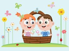 Children In The Basket Stock Photo