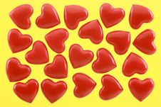 Free Red Hearts On A Yellow Background Royalty Free Stock Image - 17588206